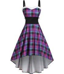 plaid faux fur insert lace up high low dress