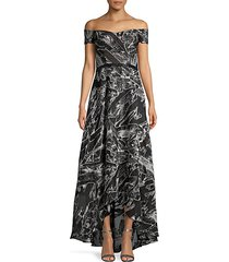 off-the-shoulder print flare gown