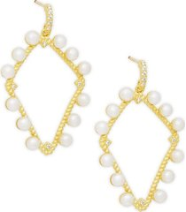 2mm pearl & crystal open hoop earrings