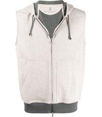 brunello cucinelli sleeveless contrasting-hem hoodie - neutrals