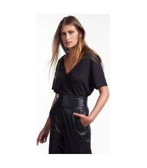 blusa de manga curta com decote v preto - gg