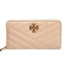 women's tory burch kira chevron quilted zip leather continental wallet - beige