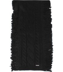 women's michael kors soft fringe super cable scarf, size one size - black