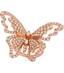 le vian butterfly away nude diamond ring (2-3/4 ct. t.w.) in 14k rose gold