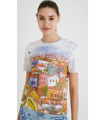 arty ribbed t-shirt - white - s