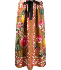 altea silk floral print skirt - brown