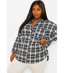 plus oversized geruite boyfriend blouse, navy