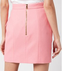 balmain women's short high waist 6 button cotton pique skirt - rose moyen - fr 40/uk 12