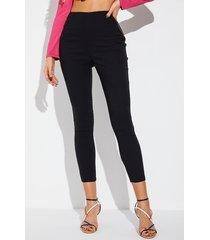 yoins cremallera negra diseño cintura media pantalones