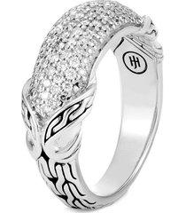 'asli classic chain' diamond silver ring