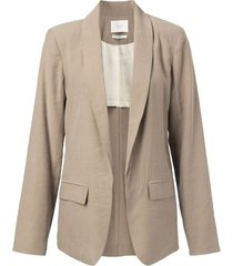 blazer with belted detail dark sand