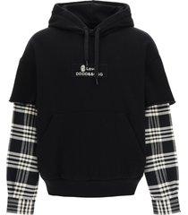 dolce & gabbana hooded sweatshirt with tartan sleeves