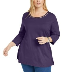 karen scott plus size beaded cutout-neck tunic, created for macy's