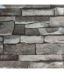 kit 2 rolos de papel de parede fwb lavável tijolinho cinza escuro