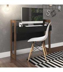 mesa escrivaninha 1 gaveta az1007 preto/nogal - tecno mobili