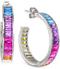"""cubic zirconia medium rainbow baguette hoop earrings in sterling silver, 1.1"""""""