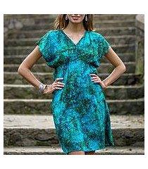 batik rayon dress, 'java emerald' (indonesia)