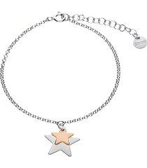bracciale in argento rodiato con pendenti stelle silver e rosata per donna