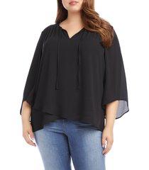 plus size women's karen kane tie neck bell sleeve top, size 1x - black