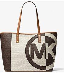 mk borsa tote carter grande bicolore con logo - brown multi - michael kors