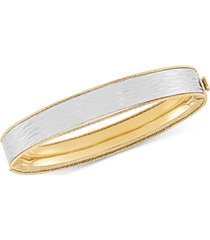 textured two-tone bangle bracelet in 14k gold & white gold