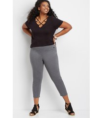maurices plus size womens pull on bengaline crop pants gray