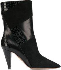 aquazzura calder cone-heel ankle booties - black