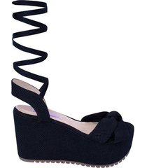 sandalia plataforma vasco mercedes campuzano de mujer-azul