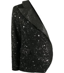 loulou one-shoulder crystal embellished blazer - black