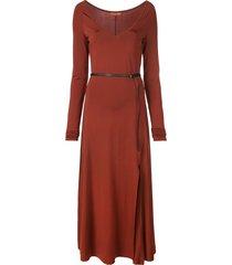 altuzarra phoebe wide v-neck dress - orange