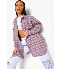 oversized geruite blouse, purple