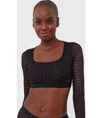 blusa cropped colcci underwear tule allegro preta - preto - feminino - poliamida - dafiti