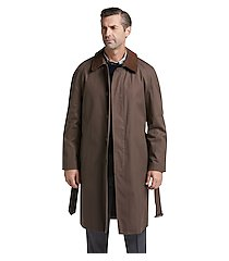 executive collection traditional fit brown full-length coat clearance