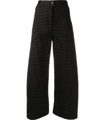 henrik vibskov cropped seersucker trousers - black
