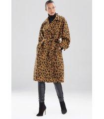 natori leopard jacquard trench coat, women's, brown, cotton, size l natori