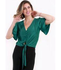 blusa con amarra verde night concept