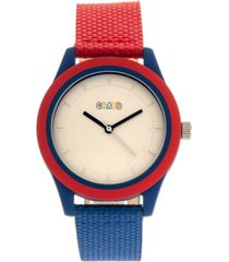 crayo unisex pleasant red, blue leatherette strap watch 39mm