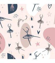 papel de parede bailarina minimalista quarto menina 57x270cm - multicolorido - dafiti