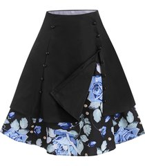layered sailor style floral vintage skirt