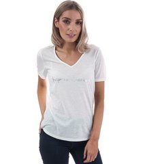 vero moda womens night v-neck foil t-shirt size 6 in white