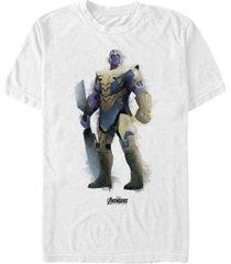 marvel men's avengers endgame watercolor thanos strong pose short sleeve t-shirt