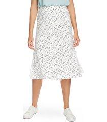 women's 1.state vintage scatter dot side slit skirt, size 14 - white