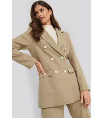 na-kd classic double breasted pearl blazer - green