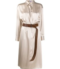 brunello cucinelli belted shirt dress - neutrals