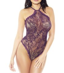 women's spiral mesh one piece floral teddy with scalloped halter and hems