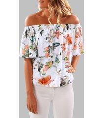 blusa elástica con hombros descubiertos y estampado floral al azar