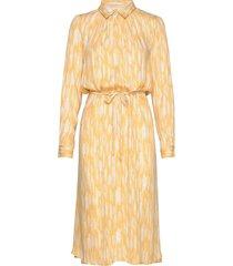 blaze ls midi shirt dress printed knälång klänning gul soft rebels