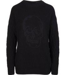 philipp plein woman black skull cashmere 5 pullover