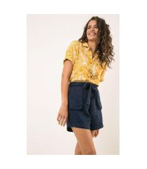 camisa manga curta modal linho selva ervadoce feminina