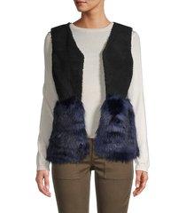saks fifth avenue women's faux fur vest - black blue - size s/m